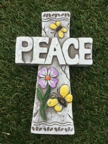 CROSS Garden Coloured Decorative Stone PEACE
